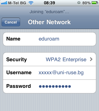 eduroam settings